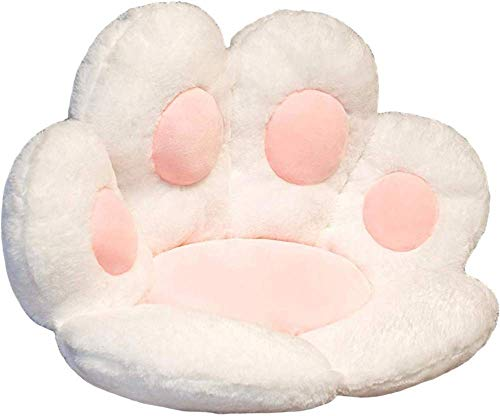 YALIAN Seat Cushion Cat Paw Shape Lazy Sofa Office Chair Pad Plush Warm Skin-Friendly Floor Mat Armchair Seat Cushion Soft Cozy Chair Pillow Relieves Back and Tailbone Pain Relief-White
