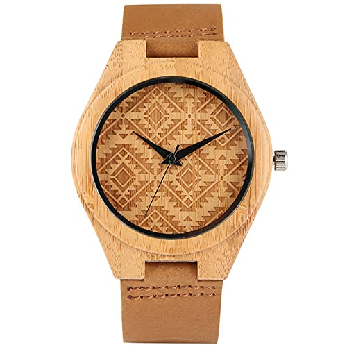 CAIDAI&YL Vintage Rhombus Pattern Display Quartz Bamboo Watch Men WomenWristwatch Natural Stylish Wooden Timepiece,Brown