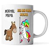 Taza de café de mamá unicornio normal de mamá y operador de grúa móvil. Taza para...