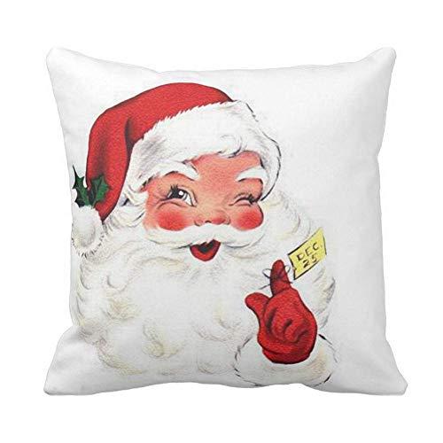 Royalours Pillow Covers Super Soft Throw Pillow Covers Christmas Santa Claus Home Decor Pillowcase Cushion Cover 18 x 18 Inches (Santa Claus)