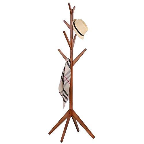 Garderobenständer Stabil mit 8 Haken Holz Garderobe Kleiderbügel Stark Haltbar für Schlafzimmer & Wohnzimmer 176cm(H),Teak Farbe