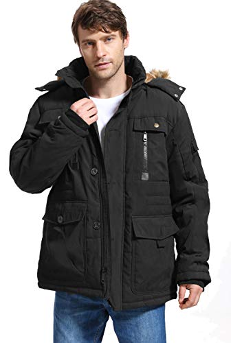Yozai Mens Winter Parka Insulated Warm Jacket Military Coat Faux Fur with Pockets and Detachable Fur Hood 369 Black Large