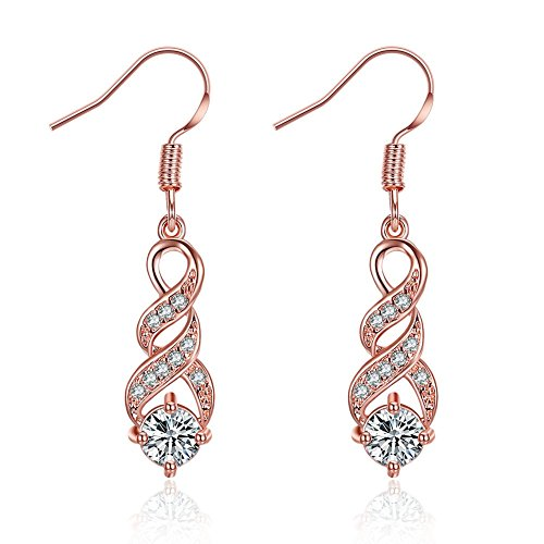 HANGYI Orecchini pendenti in oro rosa 14K orecchini donna anallergici lunghi gioielli donna(3.7cm)