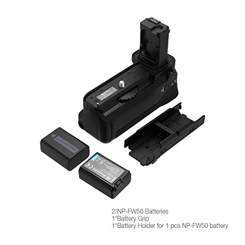 Powerextra VG-C1EM Battery Grip + 2-Pack High Capacity 1500mAh NP-FW50 Batteries Replacement for Sony Alpha A7/A7S/A7R Digital SLR Camera