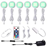 AIBOO RGB Color Changing LED Under Cabinet Lights Kit Aluminum Slim Puck Lamps for Kitchen...