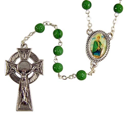 6mm Green Shamrock Bead Rosary with Silver-Toned Celtic Crucifx and Saint Patrick Centerpiece, 22 Inches