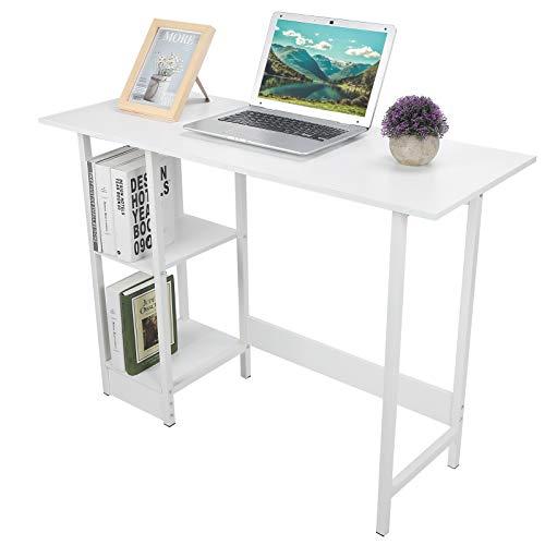 Cerlingwee Mesa De Estudio, Estación De Trabajo para PC Escritorio De Computadora Mesa De Estudio para Computadora Portátil con Estantes De Almacenamiento De 2 Niveles para Muebles De Oficina En Casa