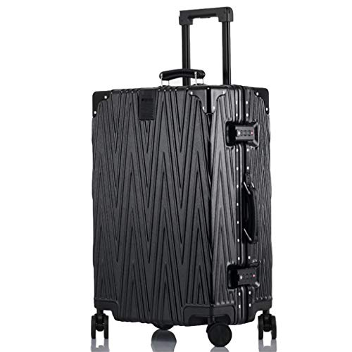 Men Women Suitcases, Silent Universal Wheel Luggage Trolley Suitcases,right Angle Aluminum Frame Suitcases, Large Capacity Space TSA Customs Code Lock(Color:Black,Size: 24 inches)