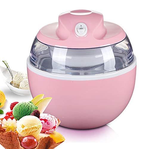 MYPXX Speiseeisbereiter Elektrisch Professionelle Klein Eismaschine 0.6 L Komplett Automatisch Speiseeismaschine Kind DIY Hausgemachtes Sorbet, Frozen Jogurth (Pink)