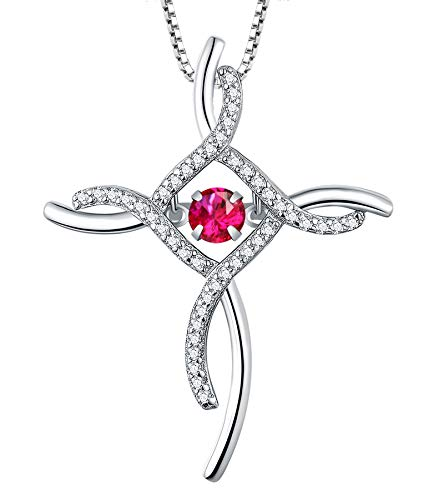 YL Celtic Knot Cross Necklace Sterling Silver Cubic Zirconia Loop Infinity Pendant Dancing Created Ruby Crucifix Jewelry