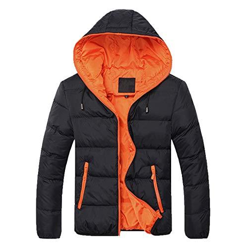 YEBIRAL Herren Winterjacke Jacke Daunenjacke Steppjacke Leicht Winter Gefütterter Warm Übergangsjacke Moderne Outdoorjacke mit Kapuze(XL,Orange)