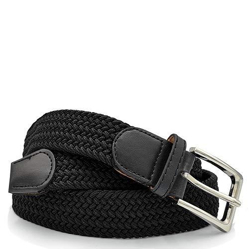 Glomy Cintura Elastica Intrecciata da Uomo, Nero, 115cm