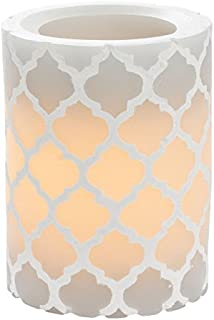 Sterno Home CGT11848GY Carved Quatrefoil Pillar with 5-Hour Timer, 3 4-Inch, Gray