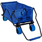 Impact Canopy Folding Collapsible Utility Wagon, Extra-Large Wagon with All-Terrain Wheels, Royal Blue
