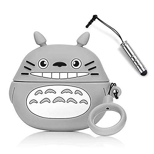 Ash-case AirPods Case Silicone Compatible avec AirPods Pro, [Prend en Charge la Charge sans Fil] [Étui de Protection Antichoc] [Mousqueton] - de Dessin animé 3D-Smile Totoro+1x Stylet