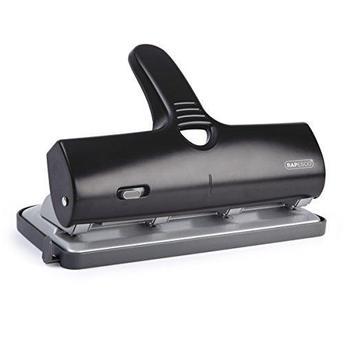 Rapesco Alu 40 - Perforadora de gruesos de 4 agujeros y 40 hojas de capacidad, color negro