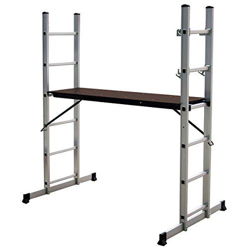 Charles Bentley 5 Way Aluminium Multi Purpose Gerüste Leiter mit Step-Plattform - Geringes Gewicht für 2 Personen