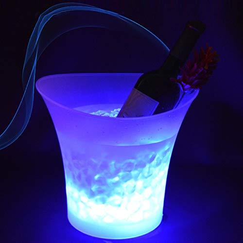YIBANG-DIANZI Cubo de Hielo Cubo de Hielo LED 5L Colores DE CURANO DE Vino Cambio CAMPOING Cubo DE Vino DE CAMPAÑA para EL Barra DE Positivo para Fiestas Familiares (Color : Round Champagne Buck)