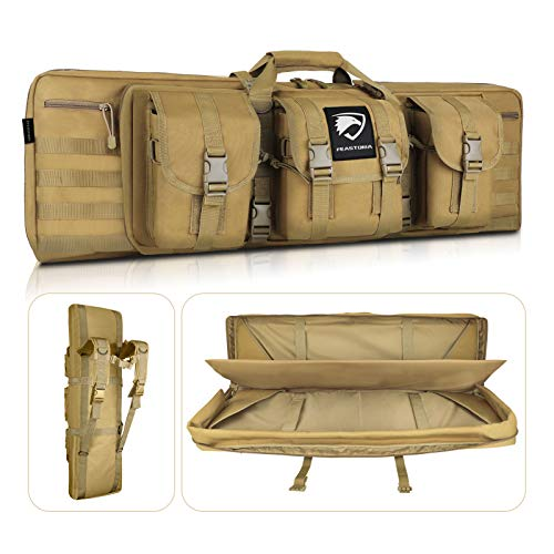 """Feastoria Double Long Soft Rifle Case, American Classic Durable Tactical Carbine Rifle Bag & Multi-Function Gun Bag, Perfect for Rifle and Pistol Storage or Transportation,Available Length in 42"""""""