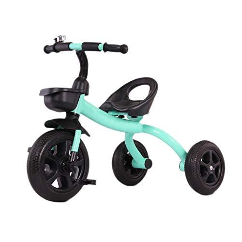 Tricycle - Triciclo portátil para niños de 2 a 6 años de edad, equilibrio para bicicleta, tres paseos, coche de juguete para niños, 3 colores, 60 x 50 x 78 cm (color: verde)