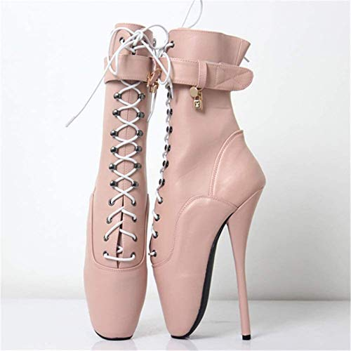 PLAYH Candados para Mujer Zapatos De Ballet Botines Fetiche Sexy Tacón Alto 18cm Tacones De Aguja con Cordones Botas De Fiesta De Baile Botas Martin (Color : Light Pink, Size : 45)