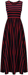 Baiepen Elegant Women Sleeveless Dress Defined Waist Printing Full Length Maxi Dress with Striped Pattern Floor-Length Dre...
