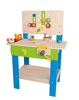 Master Workbench by Hape | Award Winning Kid s Wooden Tool Bench Toy Pretend Play Creative Building Set Height Adjustable 35Piece Workshop for Toddlers