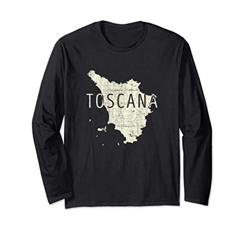 Mappa Toscana Word Art - Souvenir Toscana Italia Maglia a Manica