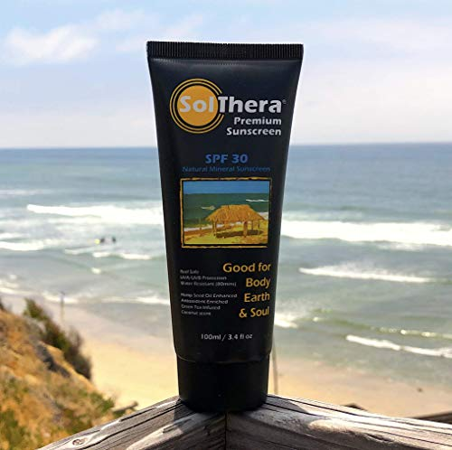 SolThera Premium Sunscreen (Natural Mineral Sunscreen, Kids, Reef Safe, Coral Safe, Waterproof, Non-Nano, Biodegradable Sunblock, Travel Size, Light Coconut Scent)