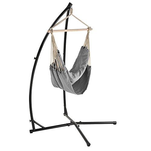 [casa.pro] Katoenen hangstoel incl. standaard - grijs