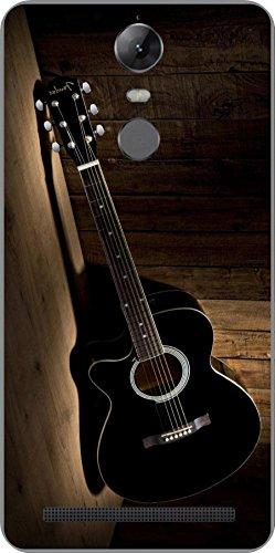shengshou guitar design mobile back cover for lenovo vibe k5 note 2017 - black brown - Black; Brown