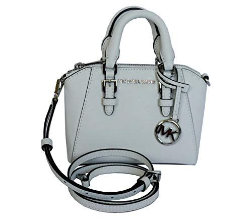 """Saffiano Leather, Silver Tone Hardware Top Zippered Closure, Fully Lined Inside: 3 Card Slots double handles with 2.5"""" Drop, Comes with Removable & Adjustable Shoulder Strap 7"""" (L) X 7.5""""(H) X 3.25""""(D)"""