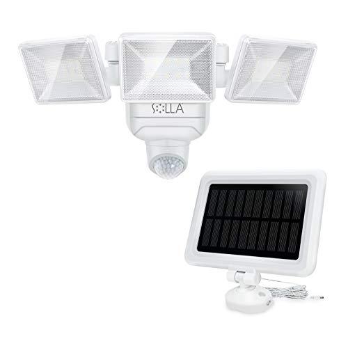SOLLA Solarlampen für außen, 2000LM Solarleuchten mit Bewegungsmelder, IP65 Strahler Außen, Dimmbares Solarlicht, 3 Verstellbare Lichtköpfe, Solar oder lampe batteriebetrieben