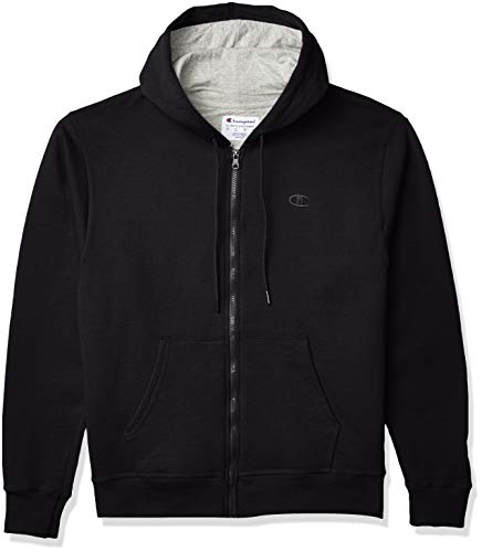 Champion Men's Powerblend Fleece Full-Zip Hoodie, Black, 3XL
