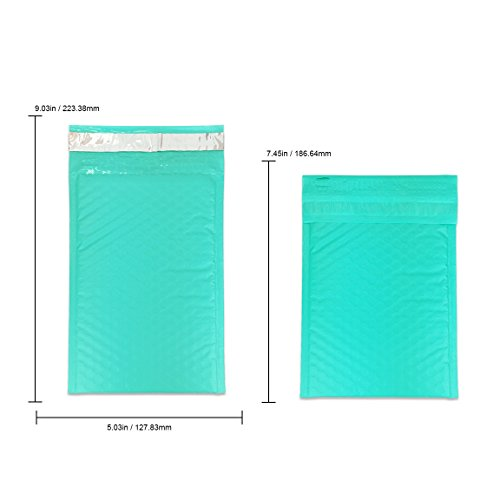 """Beauticom TEAL (50 Pieces) #000, 4""""x8"""" Self-Seal Poly Bubble Mailer Envelopes Eco Friendly Lightweight Made In The USA Photo #4"""