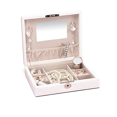 ZRL Caja organizadora con cerradura para joyas con espejo, para anillos, pendientes, caja de almacenamiento para mujer (color: blanco, tamaño: mediano)