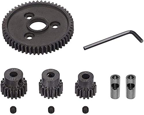 Pitch Metal Steel 54T 32P Spur Gear with 15T/17T/19T RC Car Pinions Gear Sets for Slash 4x4 4WD/2WD VXL Rally VXL Stampede 4x4 1/10 Summit 1/10 E-REVO