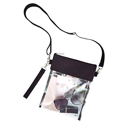 GreenPine Clear Crossbody Purse Bag -Stadium Approved Clear Tote Bag with Adjustable Shoulder Strap (Black)