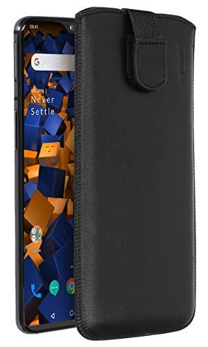 Mumbi echt lederen tas compatibel met OnePlus 7 / pro, lederen case klap handtas cover, OnePlus7, zwart
