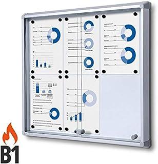 Vitrina 6x A4 B1 Aluminio con Puertas Corredizas Cuadro de Información Interior Protección contra Incendios ...