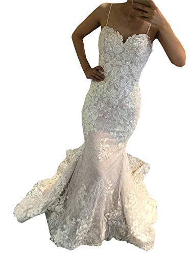 Meganbridal Women's Off Shoulder Mermaid Wedding Dress with Train for Bride Ruffles Tulle Lace Bridal Ball Gown D-White