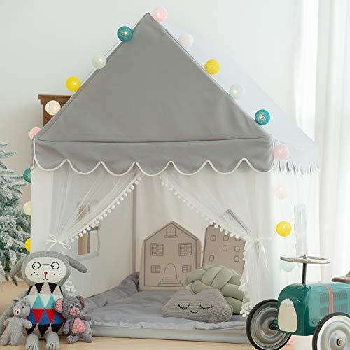 Kids Play Tent with Mat Grey, Ball String Lights, Avrsol Large Playhouse Children Play Castle Fairy Tent for Girls & Boys Birthday Gift