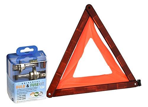 FML 2 pièces Royaume-Uni et européenne pour l'Kit de voyage universel Kit ampoule de rechange H1 H4 H7 et fusibles en UE approuvé Triangle d'avertissement