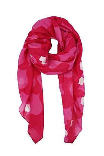Agatha Ruiz de la Prada Pañuelos Fular Foulard Mujer Bufandas Estampado Diseño de besos 180 x 90cm Incluye llavero de regalo (Fucsia con rosa)