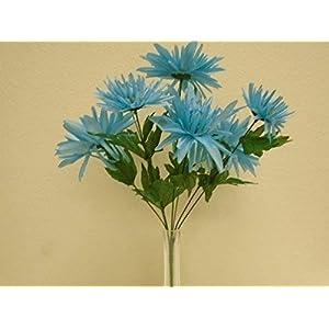 2 Bushes Blue Fuji Mum Artificial Silk Flowers 18″ Bouquet 7-6071TQ