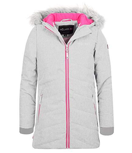 Trollkids Mädchen Lifjell Wasserabweisende Winddichte Ski Jacke Winterjacke, Weiß meliert/Pink, Größe 164