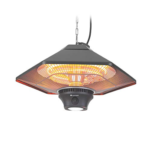 blumfeldt Heat Hexa - Infrared Heater, Patio Heater, Electric Heater, Heating Power: 800/1200 / 2000 Watts, IR ComfortHeat, Halogen Heating Elements, LED Lighting, Touch Screen - Onyx