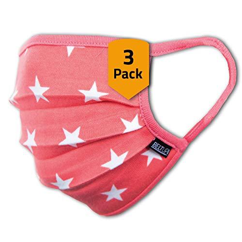 3er-Pack Mundschutz Kinder Junge & Mädchen waschbar, rosa pink mit Sternen | aus 100%...
