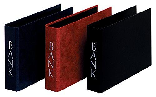 Herlitz Bankordner DIN Lang mit silberprägung, 2 Bügel, 3 Stück, eingeschweißt, weinrot / schwarz / blau