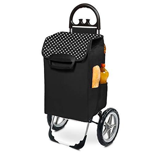 Einkaufstrolley XXL Kiley mit großen Rädern in schwarz mit 78L - großer Transportwagen Einkaufshilfe Trolley 50kg belastbar